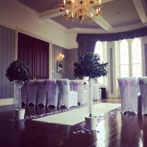 Events hire Centrepieces, chair covers, large led letters, dancefloor, hire, Glasgow, Lanarkshire Ross Priory