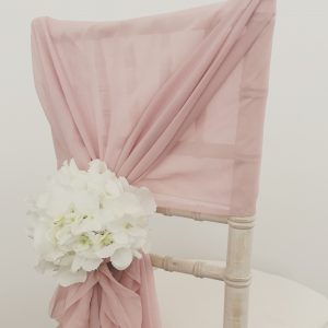 Wedding chair fabric, chiffon hoods with hydrangeas, Lily Special Events