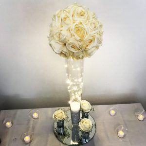 Tall rose silk flower centrepieces Glasgow florist, Lily Special Events
