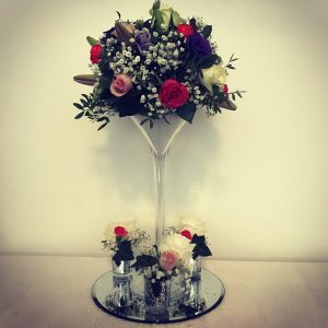 Tall fresh flower, floral centrepiece, martini vase, Lily Special Events