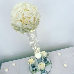Tall flower rose centrepieces, hire Glasgow, Lily Special Events