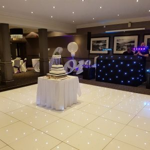 Sparkly white LED dance floor, wedding, hire Glasgow