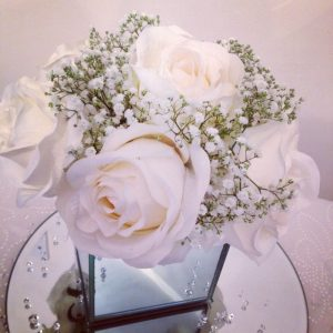 Cube vase, ivory roses and gyp, Lily Special Events