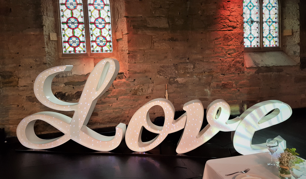 Italic led Love sign, Lily Special Events