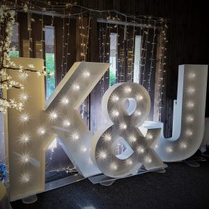Events hire Centrepieces, chair covers, large led letters, dancefloor, hire, Glasgow, Lanarkshire 5ft initials