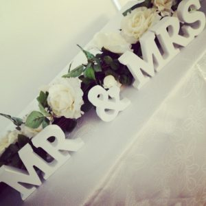 Wedding decorations Centrepieces and decor Mr and Mrs centrepieces, wedding, hire, glasgow, lanarkshire, decor