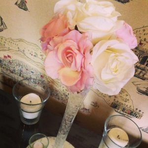 Centrepieces and decor Pink roses centrepieces, wedding, hire, glasgow, lanarkshire, decor