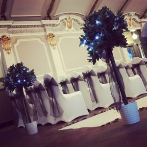 wedding decorations Events hire Centrepieces, chair covers, large led letters, dancefloor, hire, Glasgow, Lanarkshire bay trees