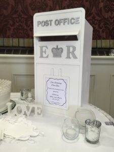 Centrepieces and decor, wedding, hire, glasgow, lanarkshire, decor post box