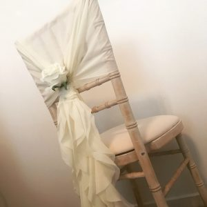 Wedding chair fabric, chiffon hoods with rose, Lily Special Events