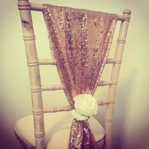 Wedding chair decorations sequin ties with rose,, Lily Special Events
