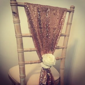 Chiavari chair decor, rose gold sequin, hire Scotland