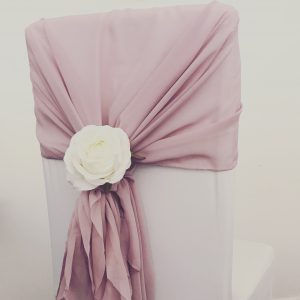 chiffon ruffle chair hoods, chiavari chair decorations, chiffon hoods, chair cover hire Glasgow