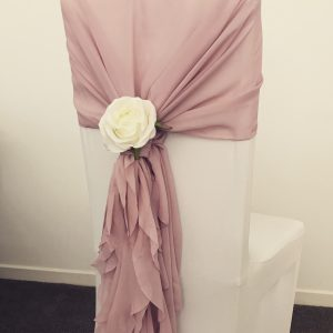 chiavari chair decorations, chiffon hoods, chair cover hire Glasgow