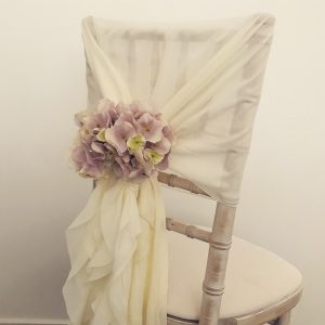 Chiavari chair decoration, ruffle hoods, hire Glasgow