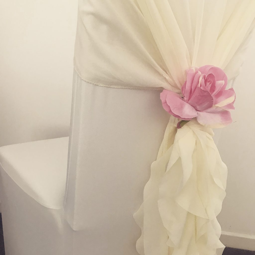 chiffon ruffle chair hoods, floral, flowers, wedding, hire Glasgow
