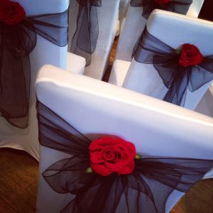 Black organza bows with rose details - Copy