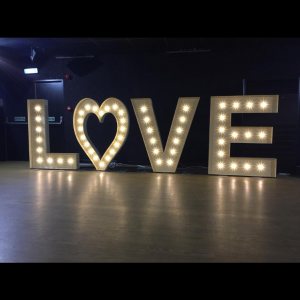 5ft LED light up letter hire, Glasgow love letters