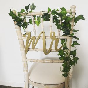 Mr and Mrs signs wedding chair ivy decorations