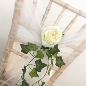 White chair hood with ivy decoration chair wedding