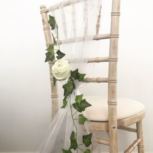 Chair decorated with ivy wedding, Lily Special Events